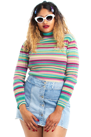 Vintage Y2K Just Like Candy Striped Turtleneck - One Size Fits Many