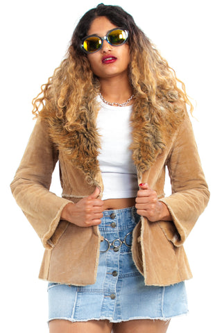 Vintage 90's Does 70's Suede Penny Coat - XS/S/M