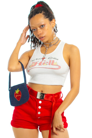 Vintage 90's Bongo Red Hot Denim Shorts - S/M