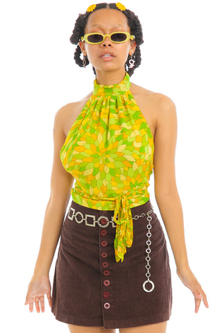 Vintage 90's Does 70's Lemon & Lime Silk Halter Top - One Size Fits Many