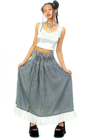 Vintage 70's Black & White Gingham Maxi Skirt - XS/S
