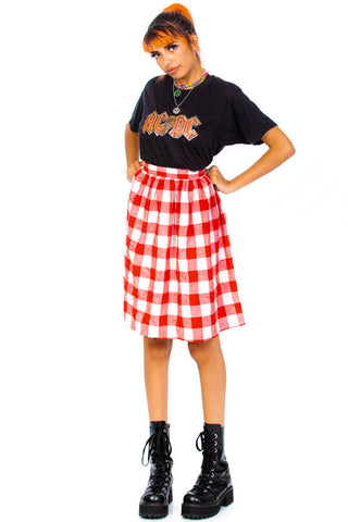 Vintage 80's does 60's Strawberry Gingham Plaid Midi Skirt - XS