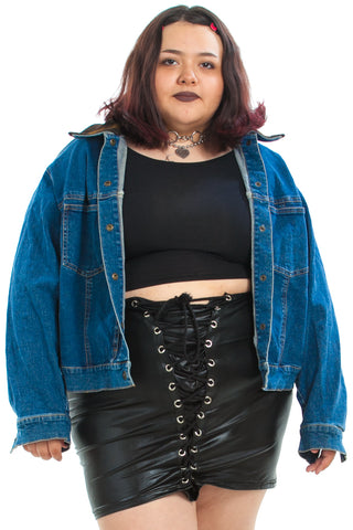 Vintage 90's Fuzzy Trim Denim Jacket - XL/2X/3X