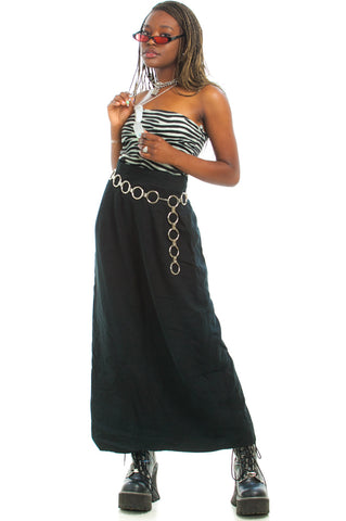 Vintage 90's Silk Matrix Maxi Skirt - L