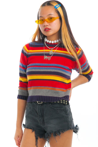 Vintage Y2K Rainbow Stripe Shrunken Sweater - XS/S