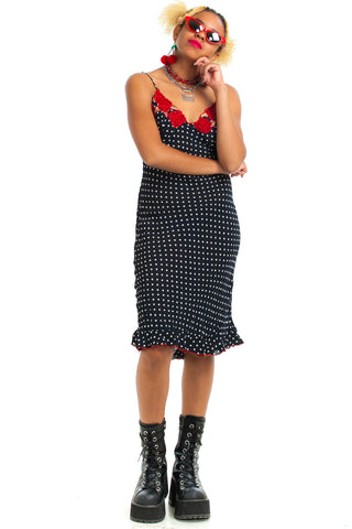 Vintage 90's Polka Dot Rose Midi Dress - XS/S