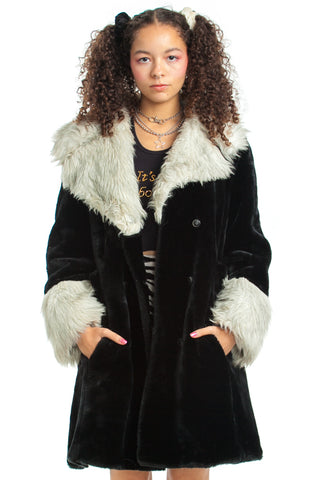 Vintage 70's Glam Kitten Faux Fur Coat - XS