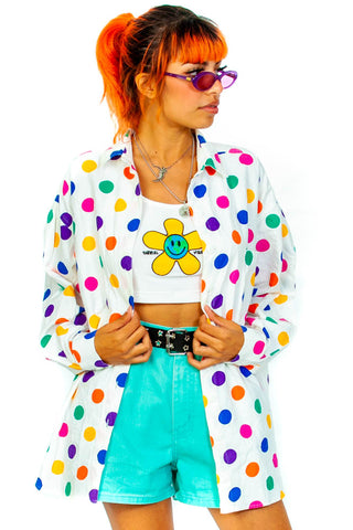 Vintage 90's Rainbow Polka Dot Button-Up Shirt - One Size Fits Many