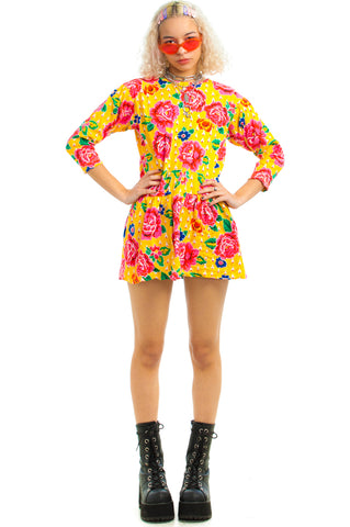 Vintage 90's Joanna Ruffle Mini Dress - XS