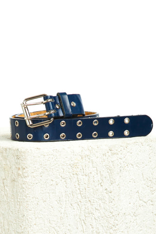 Vintage Y2K Navy Genuine Leather Grommet Belt - One Size Fits Many