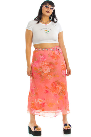 Vintage 90's Coral Floral Skirt - XL/2X