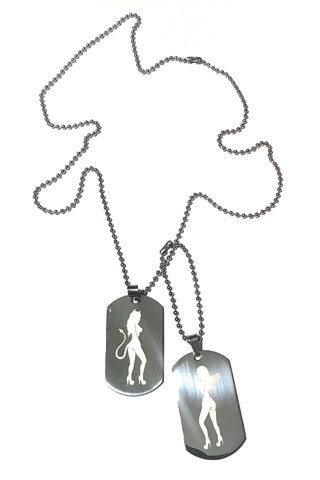 Angel & Devil Dogtag Necklace Set