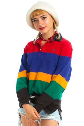 Vintage 90's Rainbow Stripe Rugby Shirt - XS/S/M