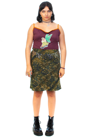 Vintage Y2K Green Cheetah Skirt - L/XL