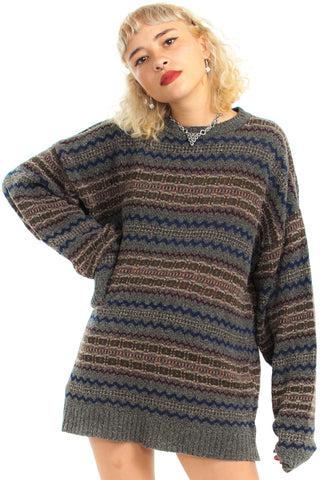 Vintage 90's Oatmeal Cookie Sweater - One Size Fits Many