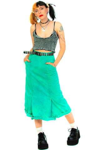 Vintage 80's Retro Mama Green Denim Midi Skirt - XS