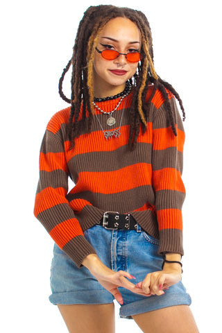 Vintage Y2K Pumpkin Spice Striped Sweater - One Size Fits Many