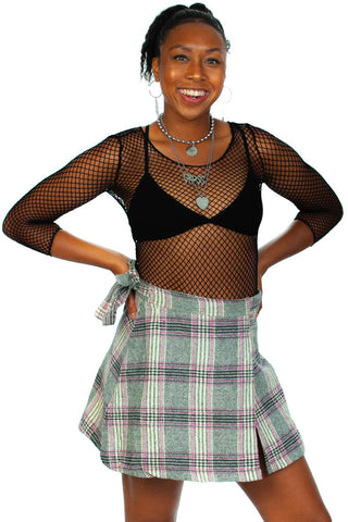 Vintage 90's Blooming Image Plaid Wrap Mini Skirt - XS/S/M