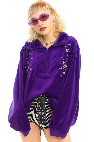 Vintage 90's Purple Butterfly Majesty Pullover - One Size Fits Many