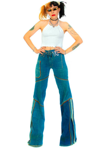 Vintage 70's French Dressing Ranch Denim Flares - XS