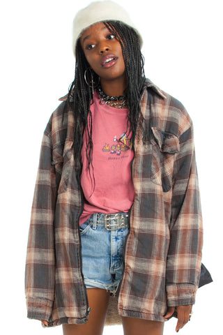 Vintage 90's Feel Good Vibes Cozy Flannel Jacket - One Size Fits Many