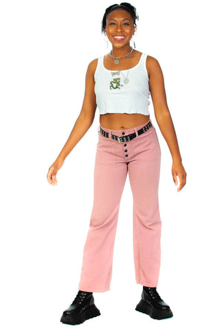 Vintage 70's Dusty Rose Twill Flares - M/L