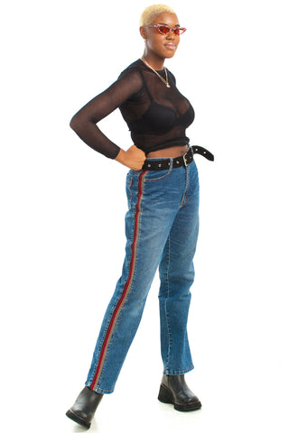 Vintage Y2K Good Feelings Rib Stripe Flares - S/M
