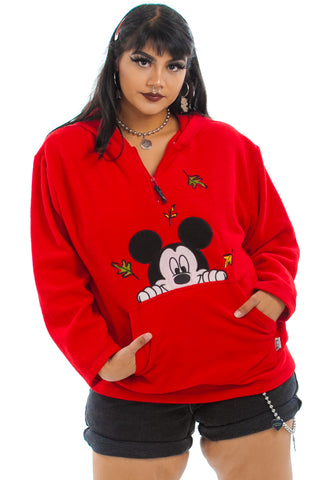 Vintage Y2K Mickey Mouse Nature Vibe Fleece Hoodie - XL