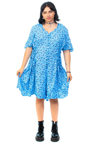 Vintage 90's Blue Floral Button Up Dress - XL/2X/3X