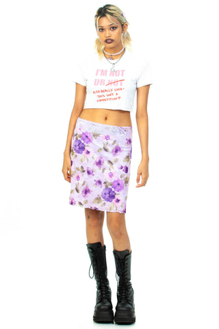 Vintage Y2K Violet Floral Watercolor Skirt - S/M