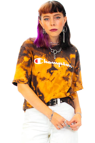 Vintage 90's Champion Bleach Wash Tee - One Size Fits Many