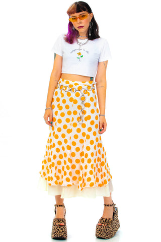 Vintage 80's Orange Polka Dot Maxi Skirt - S/M