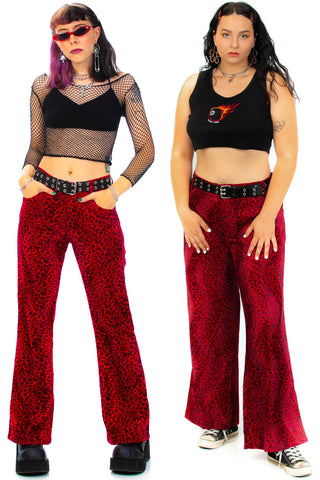 Vivian Red Cheetah Faux Fur Pants