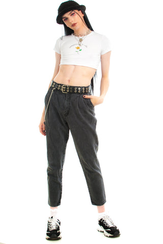 Vintage 90's Pleated Black Denim Mom Jeans - L