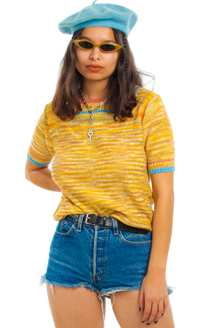 Vintage 70's Mustard Stripe Sweater-Knit Top - One Size Fits Many