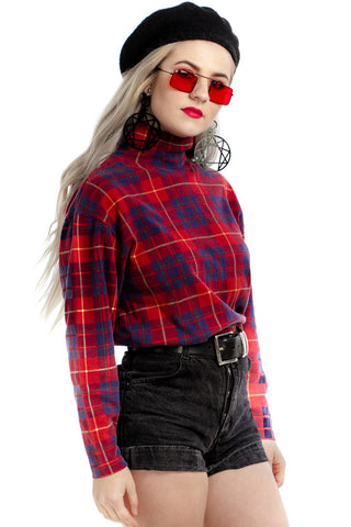 Vintage 90's Not Even Plaid At It Stretch Turtleneck - XS/S/M