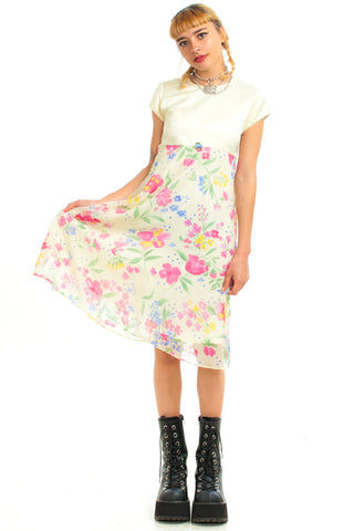 Vintage 90's Angel Baby Pastel Floral Dress - XS