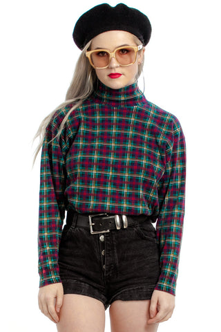 Vintage 90's Emerald City Plaid Turtleneck - XS/S/M