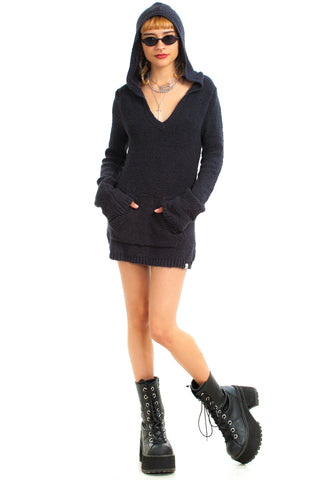 Vintage Y2K Hooded Creeper Sweater Dress - XS/S
