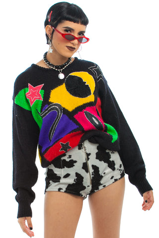 Vintage 80's Moon & Star Art Mom Sweater - One Size Fits Many