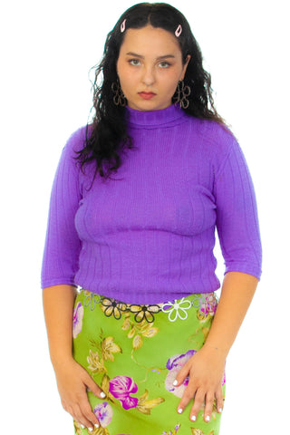 Vintage 70's Rib Sweater-Knit Top - M/L/XL