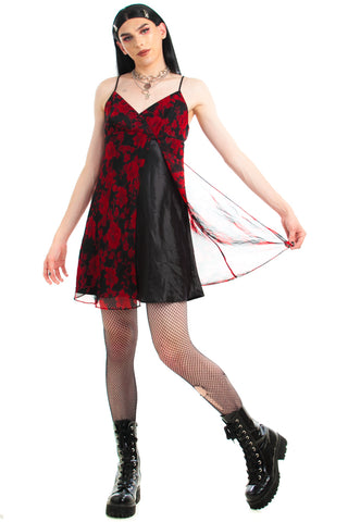 Vintage 90's Red Rose Vampire Babydoll Dress - M/L