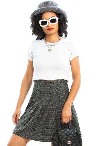 Vintage 80's Which Heather Are You? Pleated Mini Skirt - M