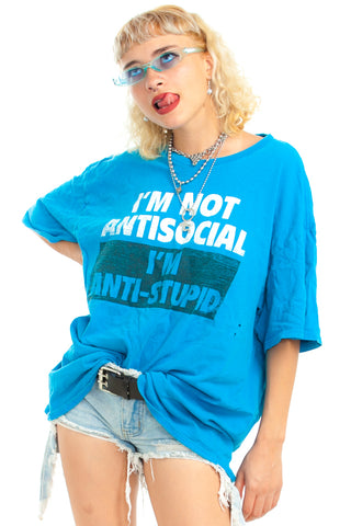 Vintage 90's I'm Not Anti-Social Tee - One Size Fits Many