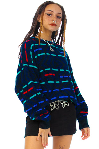 Vintage 90's Saturdays Weave Stripe Sweater - One Size Fits Many