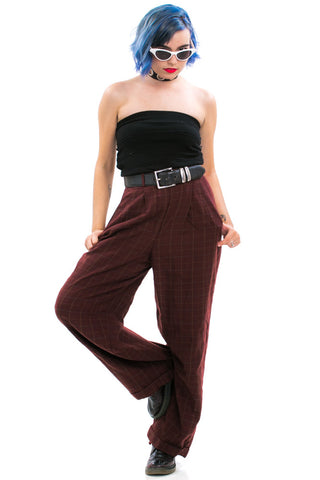 Vintage 90's Wool Check Trousers - XS/S