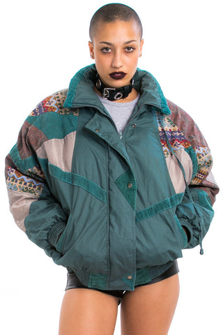 Vintage 80's Cord Mix Puffy Jacket - S/M/L