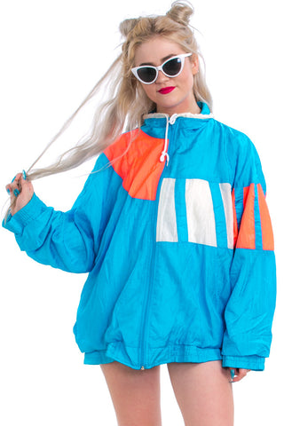 Vintage 80's Bright Sky Nylon Windbreaker - One Size Fits Many
