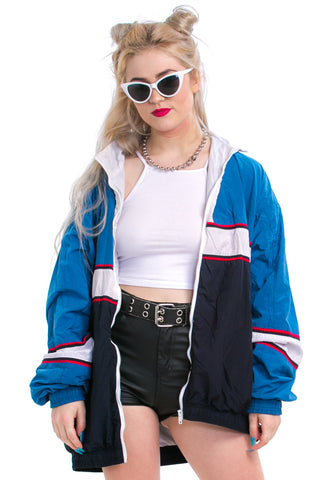 Vintage 90's NOW or Never Striped Windbreaker - One Size Fits Many