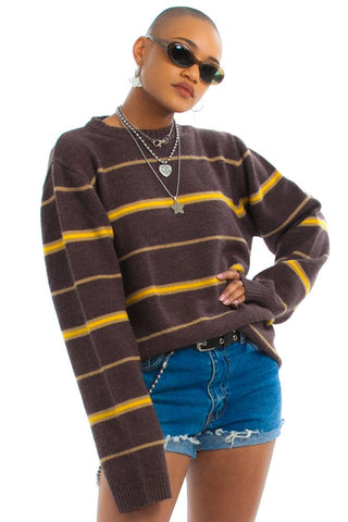 Vintage Y2K Mustard Stripe Pullover - One Size Fits Many